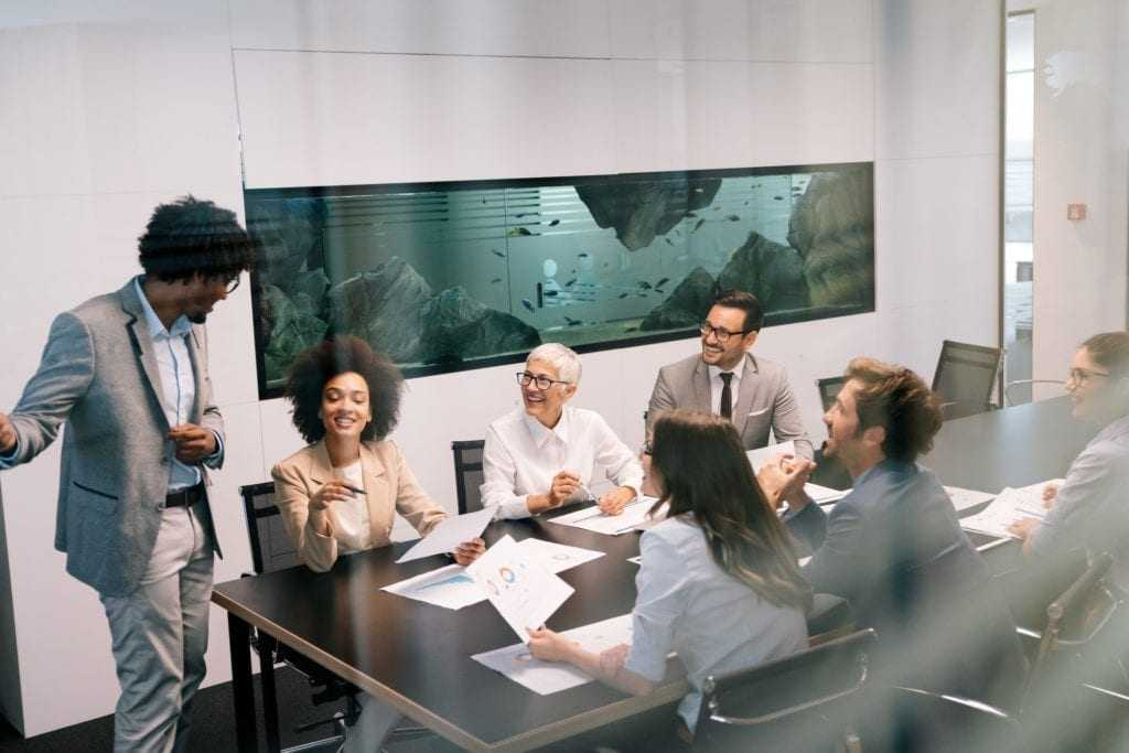 Portrait of successful business team working in office